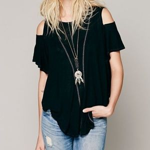 Free People We The Free Black Cold Shoulder Top